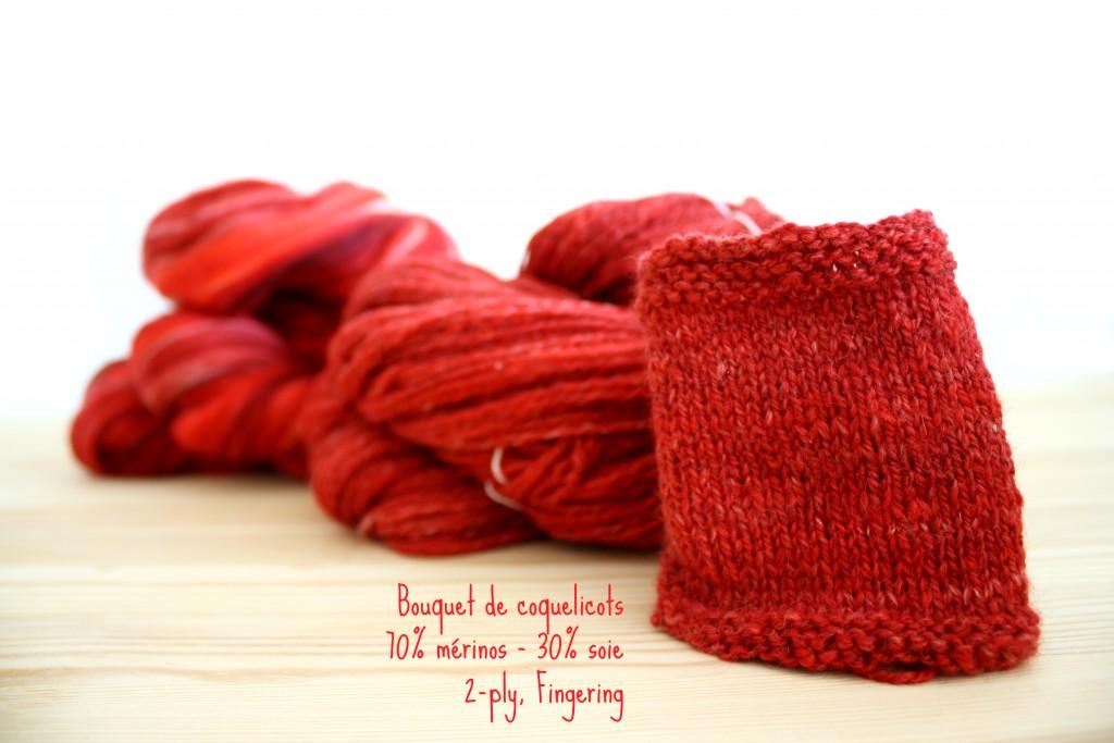 Bouquet de coquelicots, fingering 2-ply handspun yarn, 30% soie, 70%mérinos