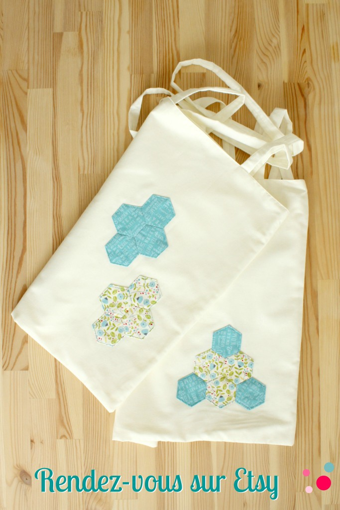 Tote-bag Hexies, available on Etsy