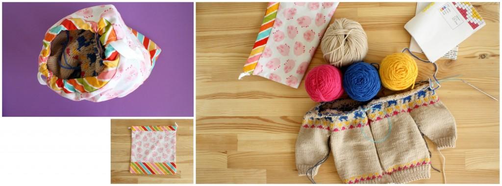 4 x 50g de laine fingering + un gilet 6 mois presque fini + une paire de HiyaHiya + 3 feuilles A4  => trop facile, il reste même encore de la place !