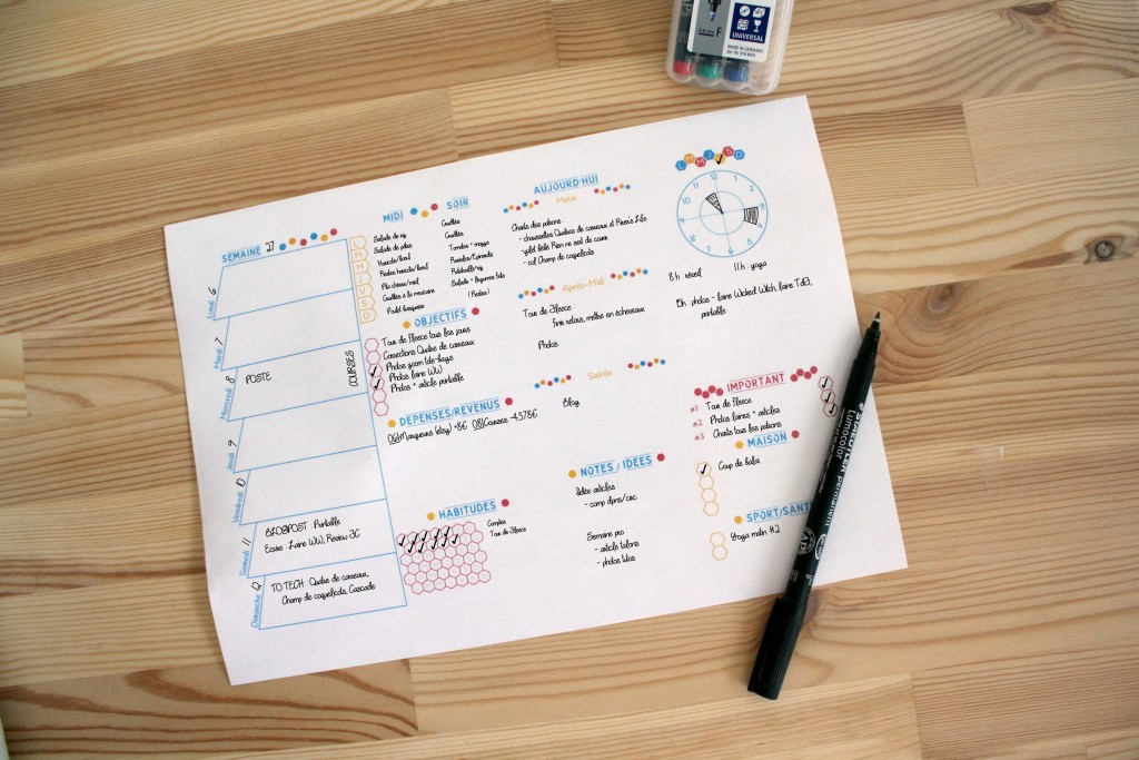 Semainier Free Printable, exemple remplissage