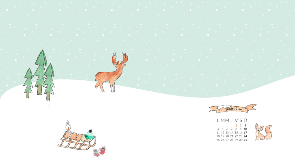 Freebies aquarelle hiver : wallpaper 1600 x 900