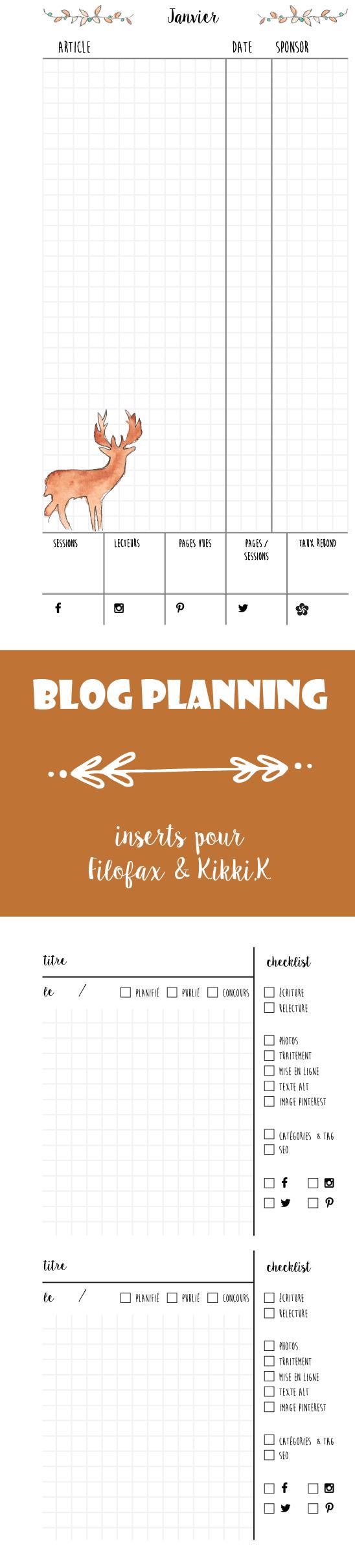 Freebies aquarelle hiver : inserts blog planning, planning mois et pense-bête article