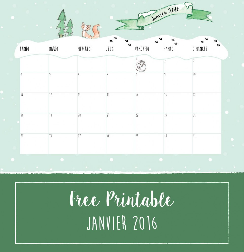 Freebies aquarelle hiver : calendrier janvier 2016, format A4, free printable