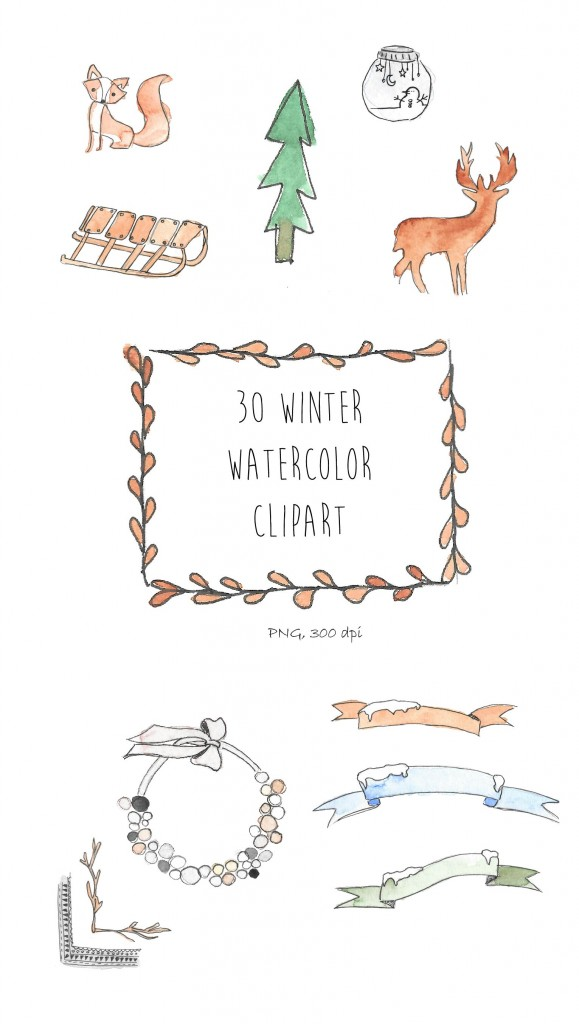 Freebies aquarelle hiver : cliparts