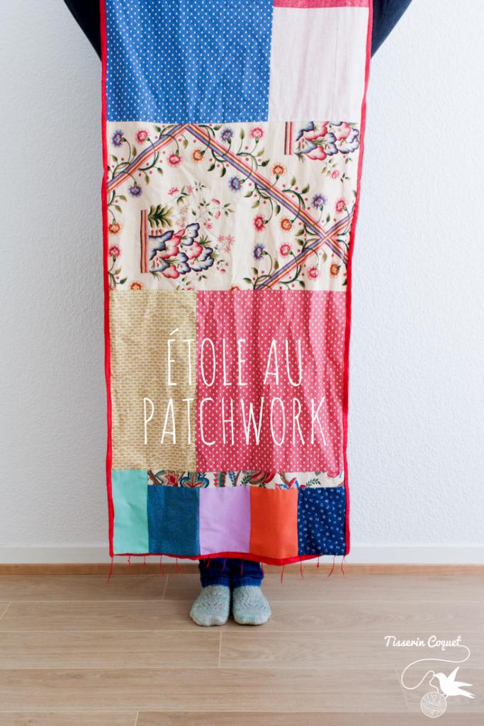 Le patchwork est un puzzle géant en tissu. Cette étole au patchwork improvisée autour d'un tissu central en est le parfait exemple. Plus de détails sur le blog.