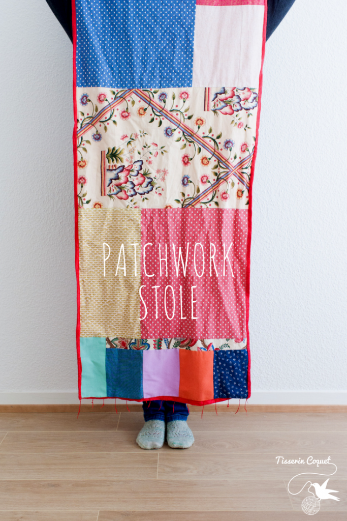 Patchwork is like a giant fabric puzzle. This improvised patchwork stole build around a specific fabric is a perfect example. Process details on the blog.