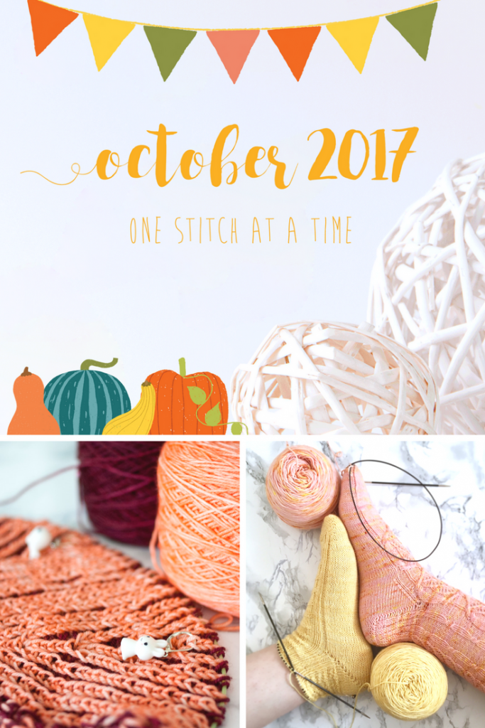 I didn't knit one single pair of socks for Socktober but worked on new patterns and reached my October 2017 goals. Let's take a look at the knitting tally!