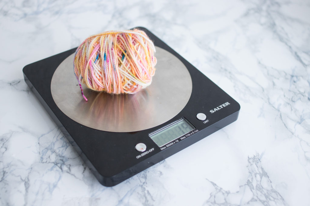 Weighting a yarn cake, ingredients to a good knitting recipe. - The Weighting Routine